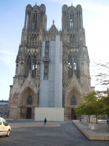 la cathédrale de Reims en réfection